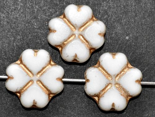 Best.Nr.:671301 Glasperlen / Table Cut Beads  geschliffen, weiß mit Goldauflage Rand mattiert,  hergestellt in Gablonz / Tschechien