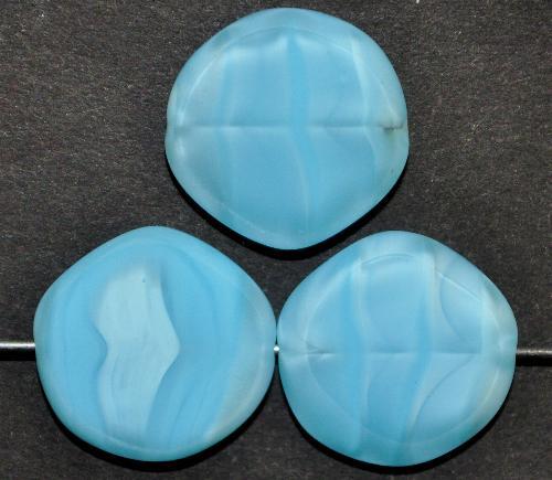Best.Nr.: 671307 Glasperlen / Table Cut Beads   geschliffen, Perlettglas hellblau Rand mattiert,   hergestellt in Gablonz / Tschechien