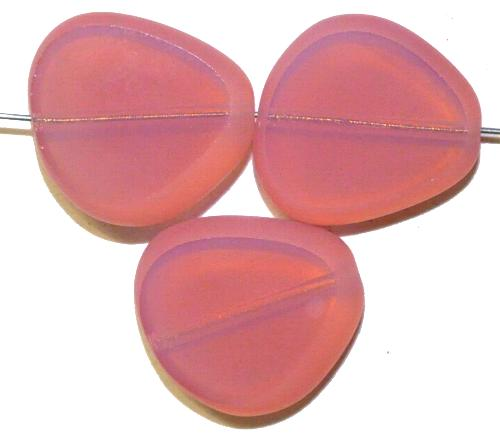 Best.Nr.:671211 Glasperlen / Table Cut Beads geschliffen, Opalglas rosa, Rand mattiert (frostet) hergestellt in Gablonz / Tschechien