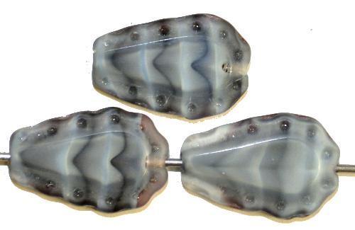 Best.Nr.:671333 Glasperlen / Table Cut Beads  geschliffen,  grau meliert Rand mattiert (frostet),  nach alten Vorlagen aus den 1930/40 Jahren in Gablonz / Tschechien neu gefertigt