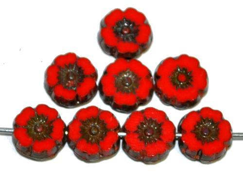 Best.Nr.:671333 Glasperlen / Table Cut Beads Blüten geschliffen rot opak mit picasso finish, hergestellt in Gablonz / Tschechien