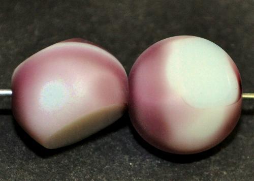 Best.Nr.:671342 Glasperlen / Table Cut Beads geschliffen,  violett weiß, Rand mattiert,  hergestellt in Gablonz / Tschechien