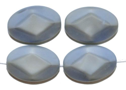 Best.Nr.:671343 Glasperlen / Table Cut Beads geschliffen, graublau Rand mattiert, hergestellt in Gablonz / Tschechien