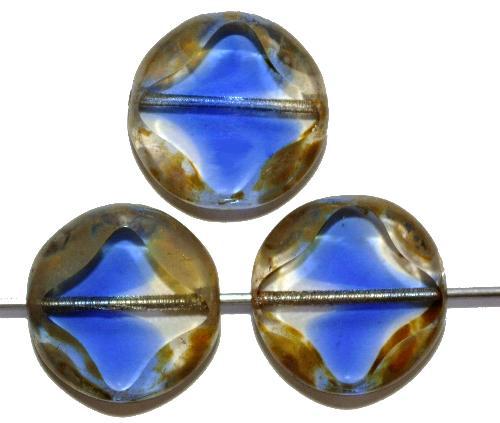 Best.Nr.:671346 Glasperlen / Table Cut Beads  kristallblau transp., geschliffen mit picasso finish, hergestellt in Gablonz / Tschechien