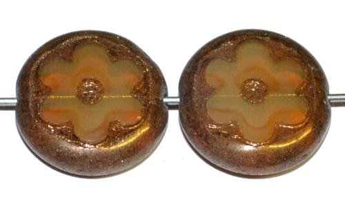 Best.Nr.:671348 Glasperlen / Table Cut Beads geschliffen, Opalglas beige mit bronze finish, hergestellt in Gablonz Tschechien