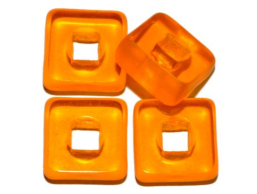 Best.Nr.:671349  Glasperlen / Table Cut Beads  geschliffen, orangegelb transp., Rand mattiert,  hergestellt in Gablonz / Tschechien