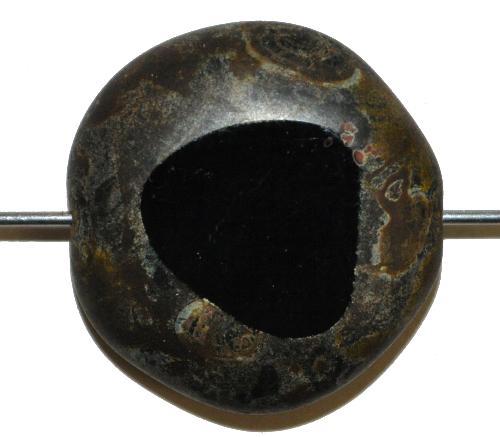 Best.Nr.:671357 Glasperlen geschliffen / Table Cut Beads,  schwarz opak mit picasso finish,  hergestellt in Gablonz / Tschechien