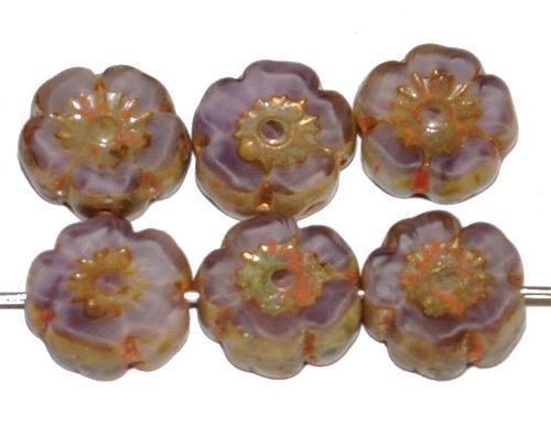 Best.Nr.:671359 Glasperlen / Table Cut Beads Blüten geschliffen Perlettglas violett mit burning silver picasso finish, hergestellt in Gablonz / Tschechien