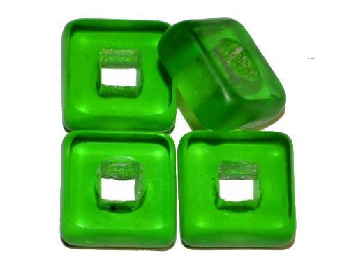 Best.Nr.:671362 Glasperlen / Table Cut Beads  geschliffen, grün transp., Rand mattiert,  hergestellt in Gablonz / Tschechien