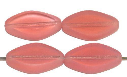 Best.Nr.:671371 Glasperlen / Table Cut Beads geschliffen, Opalglas rosa, Rand mattiert (frostet) hergestellt in Gablonz / Tschechien