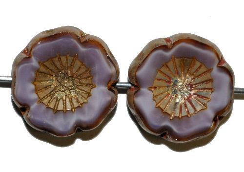 Best.Nr.:671378 Glasperlen / Table Cut Beads  Perlettglas violett,  Blüten geschliffen mit burning silver picasso finish,  hergestellt in Gablonz / Tschechien
