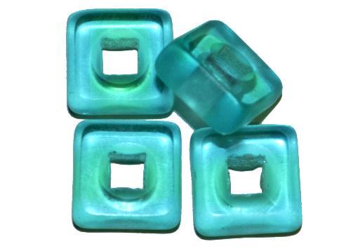 Best.Nr.: 671385 Glasperlen / Table Cut Beads  geschliffen, blaugrün transp., Rand mattiert,  hergestellt in Gablonz / Tschechien