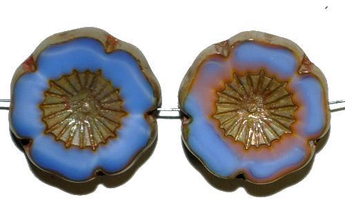 Best.Nr.:671386 Glasperlen / Table Cut Beads  kornblumenblau mit etwas rosa,  Blüten geschliffen mit burning silver picasso finish,  hergestellt in Gablonz / Tschechien