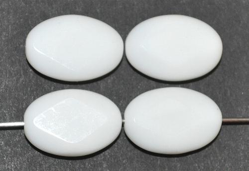 Best.Nr.: 671388 Glasperlen / Table Cut Beads   geschliffen, weiß Rand mattiert,   hergestellt in Gablonz / Tschechien