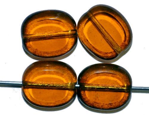 Best.Nr.: 671389 Glasperlen / Table Cut Beads  geschliffen, topas mit light bronze finish,  hergestellt in Gablonz / Tschechien