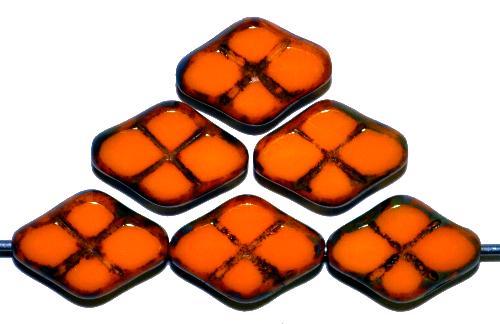 Best.Nr.:67139 Glasperlen / Table Cut Beads geschliffen  orange opak mit Travertin-Veredelung, hergestellt in Gablonz / Tschechien