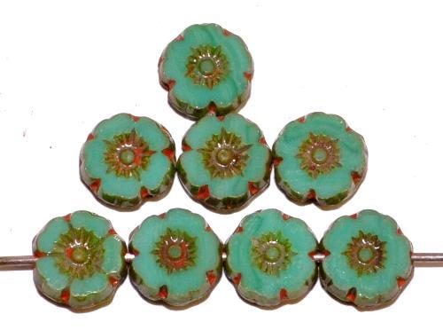 Best.Nr.:671407 Glasperlen / Table Cut Beads Blüten geschliffen mint opak mit antikbronze finish, hergestellt in Gablonz / Tschechien
