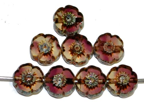 Best.Nr.:671410 Glasperlen / Table Cut Beads Blüten geschliffen kristall violett transp. mit picasso finish, hergestellt in Gablonz / Tschechien