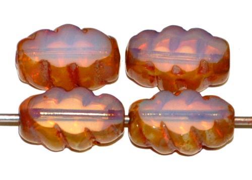 Best.Nr.:671410  Glasperlen / Table Cut Beads geschliffen  Opalglas blassrosa mit picasso finish,  hergestellt in Gablonz / Tschechien