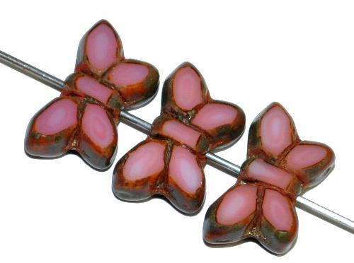 Best.Nr.:671411 Glasperlen / Table Cut Beads Schmetterlinge  geschliffen, rosa opak mit picasso finish,  hergestellt in Gablonz Tschechien