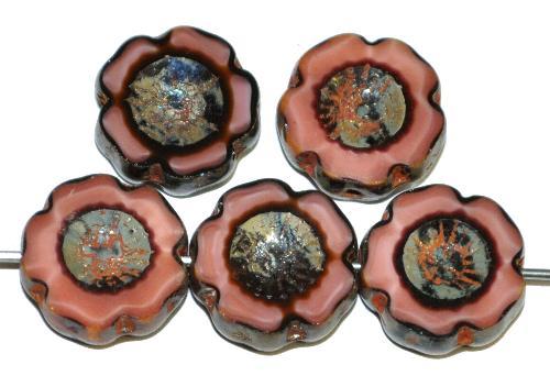 Best.Nr.:671411 Glasperlen / Table Cut Beads Blüten geschliffen altrosa opak mit burning silver picasso finish, hergestellt in Gablonz / Tschechien