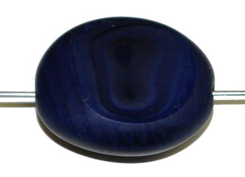 Best.Nr.:671412 Glasperlen / Table Cut Beads geschliffen dunkelblau opak Rand mattiert (frostet), hergestellt in Gablonz / Tschechien