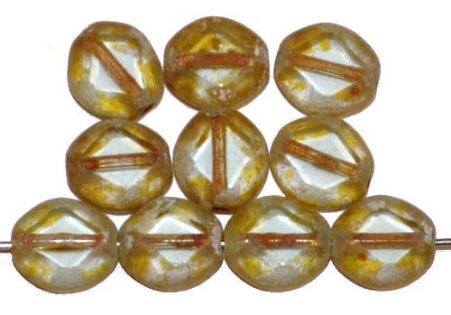 Best.Nr.:671414 Glasperlen / Table Cut Beads geschliffen, kristall leicht getönt mit picasso finish, hergestellt in Gablonz Tschechien