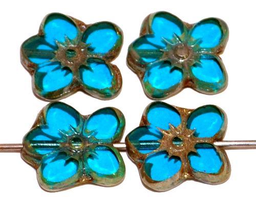Best.Nr.:671419 Glasperlen / Table Cut Beads Blüten geschliffen, montanablau transp. mit burning silver picasso finish, hergestellt in Gablonz Tschechien