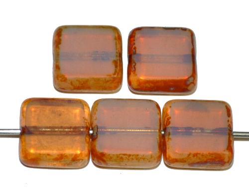 Best.Nr.:67142 Glasperlen / Table Cut Beads aus Opalglas geschliffen mit picasso finish,  hergestellt in Gablonz / Tschechien