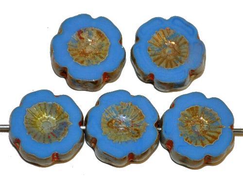 Best.Nr.:671420 Glasperlen / Table Cut Beads  mittelblau opak,  Blüten geschliffen mit burning silver picasso finish