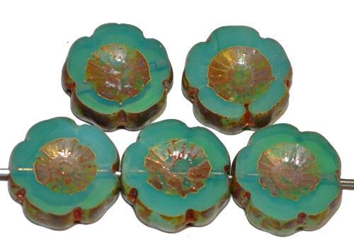 Best.Nr.:671421 Glasperlen / Table Cut Beads geschliffen  oceangreen opal mit picasso finish,  hergestellt in Gablonz / Tschechien