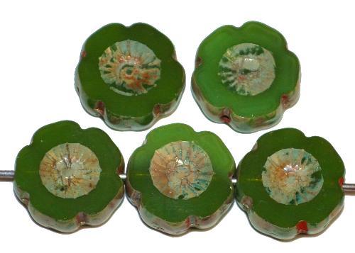 Best.Nr.:671423 Glasperlen / Table Cut Beads Blüten geschliffen, Opalglas grün mit burning silver picasso finish,  hergestellt in Gablonz / Tschechien
