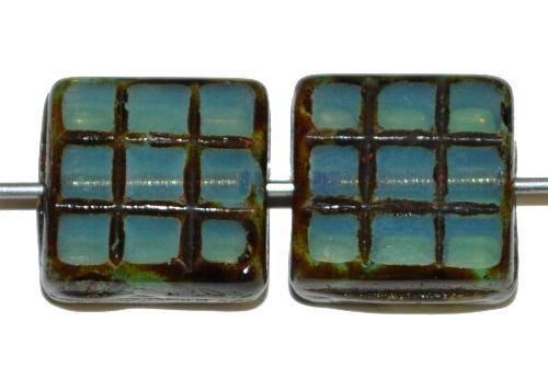Best.Nr.:671425 Glasperlen / Table Cut Beads geschliffen, Opalglas hellblau mit picasso finish, hergestellt in Gablonz Tschechien