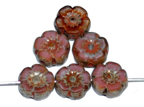 Best.Nr.:671426 Glasperlen / Table Cut Beads Blüten geschliffen  Perlettglas altrosa mit picasso finish, hergestellt in Gablonz / Tschechien