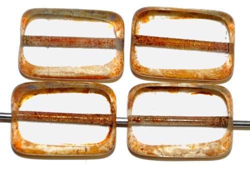Best.Nr.:671427 Glasperlen / Table Cut Beads geschliffen  kristall mit picasso finish,  hergestellt in Gablonz / Tschechien