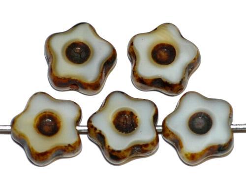 Best.Nr.:671428 Glasperlen / Table Cut Beads geschliffen, Alabasterglas weiß mit etwas beige  und picasso finish,  hergestellt in Gablonz Tschechien