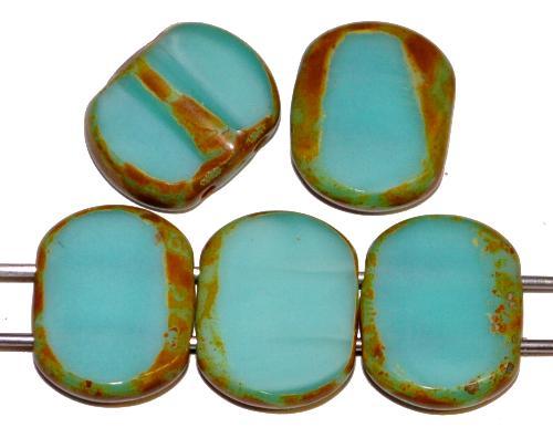 Best.Nr.:671429 Glasperlen / Table Cut Beads geschliffen  mit 2 Löchern  türkis opak mit picasso finish,  hergestellt in Gablonz / Tschechien