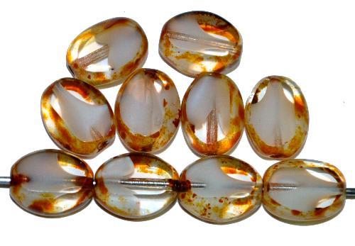 Best.Nr.:671430 Glasperlen / Table Cut Beads geschliffen Olive  kristall weiß mit picasso finish,  hergestellt in Gablonz / Tschechien