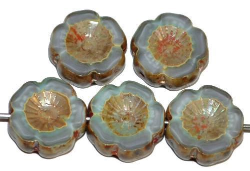 Best.Nr.:671434 Glasperlen / Table Cut Beads Blüten geschliffen  Perlettglas grau mit burning silver picasso finish,  hergestellt in Gablonz / Tschechien