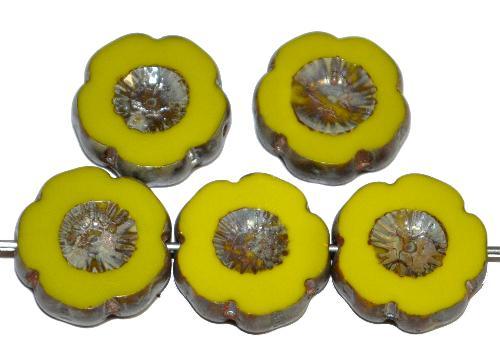 Best.Nr.:671435 Glasperlen / Table Cut Beads Blüten geschliffen  oliv opak mit picasso finish,  hergestellt in Gablonz / Tschechien