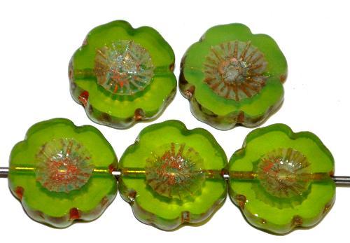 Best.Nr.:671436 Glasperlen / Table Cut Beads Blüten geschliffen  Opalglas grün mit burning silver picasso finish,  hergestellt in Gablonz / Böhmen