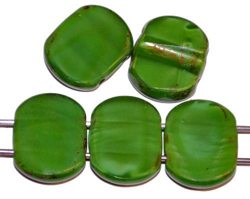 Best.Nr.:671437  Glasperlen / Table Cut Beads geschliffen  mit 2 Löchern  Perlettglas grün mit picasso finish,  hergestellt in Gablonz / Tschechien