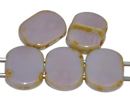 Best.Nr.:671438 Glasperlen / Table Cut Beads geschliffen  mit 2 Löchern  flieder opak mit picasso finish,  hergestellt in Gablonz / Tschechien