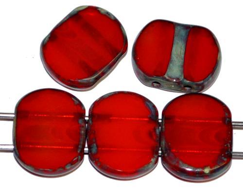 Best.Nr.:671439  Glasperlen / Table Cut Beads geschliffen  mit 2 Löchern  Alabasterglas rot mit picasso finish,  hergestellt in Gablonz / Tschechien
