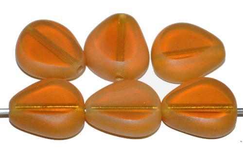 Best.Nr.:671445  Glasperlen / Table Cut Beads geschliffen, Opalglas beige Rand mattiert,  hergestellt in Gablonz Tschechien