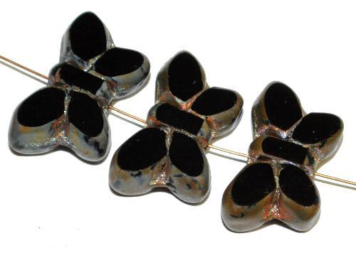 Best.Nr.:671451 Glasperlen / Table Cut Beads Schmetterlinge geschliffen, schwarz mit picasso finish,  hergestellt in Gablonz Tschechien