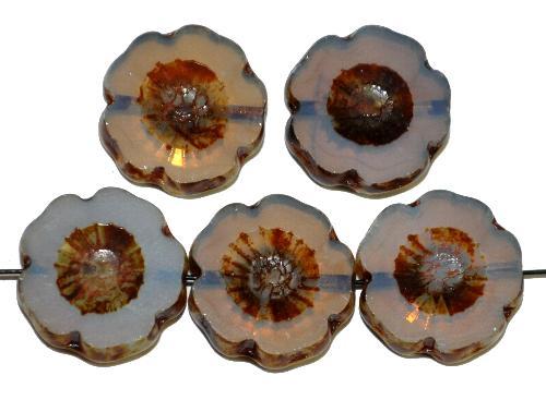 Best.Nr.:671453 Glasperlen / Table Cut Beads  Opalglas nebelgrau,  Blüten geschliffen mit picasso finish
