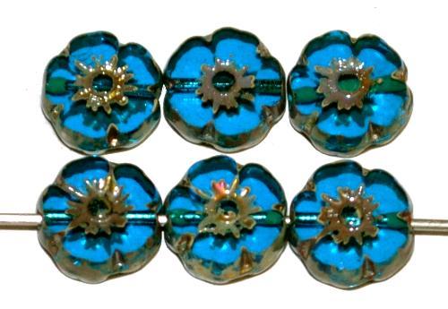 Best.Nr.:671454 Glasperlen / Table Cut Beads geschliffen, montanablau transp. mit picasso finish, hergestellt in Gablonz Tschechien