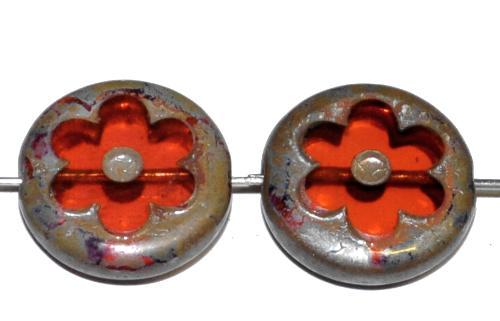 Best.Nr.:671461 Glasperlen / Table Cut Beads geschliffen, rose` transp. mit picasso finish, hergestellt in Gablonz Tschechien