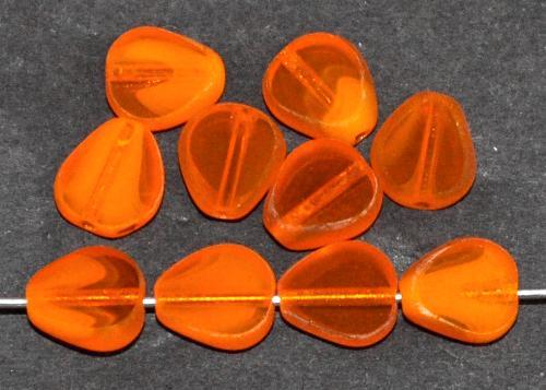 Best.Nr.:671476 Glasperlen / Table Cut Beads geschliffen, gelborange, Rand mattiert (frostet) hergestellt in Gablonz / Tschechien